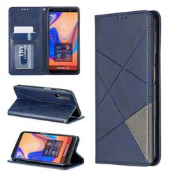 Prismatic Slim Magnetic Sucking Stitching Wallet Flip Cover for Samsung Galaxy A7 (2018) A750 - Blue