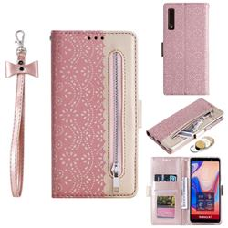 Luxury Lace Zipper Stitching Leather Phone Wallet Case for Samsung Galaxy A7 (2018) A750 - Pink