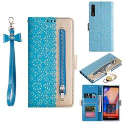 Luxury Lace Zipper Stitching Leather Phone Wallet Case for Samsung Galaxy A7 (2018) A750 - Blue