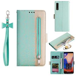 Luxury Lace Zipper Stitching Leather Phone Wallet Case for Samsung Galaxy A7 (2018) A750 - Green