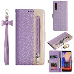 Luxury Lace Zipper Stitching Leather Phone Wallet Case for Samsung Galaxy A7 (2018) A750 - Purple