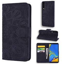 Retro Embossing Mandala Flower Leather Wallet Case for Samsung Galaxy A7 (2018) A750 - Black