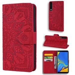Retro Embossing Mandala Flower Leather Wallet Case for Samsung Galaxy A7 (2018) A750 - Red