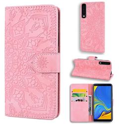 Retro Embossing Mandala Flower Leather Wallet Case for Samsung Galaxy A7 (2018) A750 - Pink