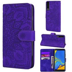 Retro Embossing Mandala Flower Leather Wallet Case for Samsung Galaxy A7 (2018) A750 - Purple