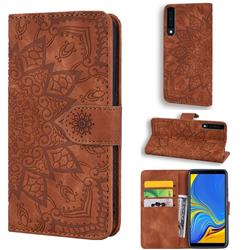 Retro Embossing Mandala Flower Leather Wallet Case for Samsung Galaxy A7 (2018) A750 - Brown