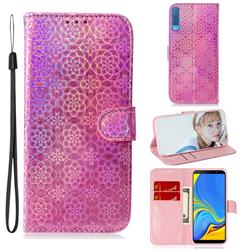 Laser Circle Shining Leather Wallet Phone Case for Samsung Galaxy A7 (2018) A750 - Pink