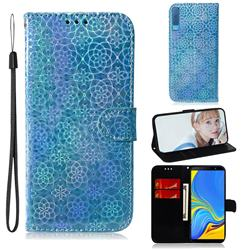 Laser Circle Shining Leather Wallet Phone Case for Samsung Galaxy A7 (2018) A750 - Blue
