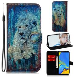 White Lion Laser Shining Leather Wallet Phone Case for Samsung Galaxy A7 (2018) A750