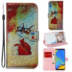Glasses Fox Laser Shining Leather Wallet Phone Case for Samsung Galaxy A7 (2018) A750