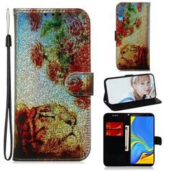Tiger Rose Laser Shining Leather Wallet Phone Case for Samsung Galaxy A7 (2018) A750