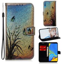 Butterfly Orchid Laser Shining Leather Wallet Phone Case for Samsung Galaxy A7 (2018) A750