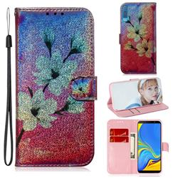 Magnolia Laser Shining Leather Wallet Phone Case for Samsung Galaxy A7 (2018) A750