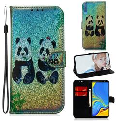 Two Pandas Laser Shining Leather Wallet Phone Case for Samsung Galaxy A7 (2018) A750