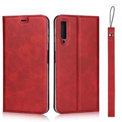 Calf Pattern Magnetic Automatic Suction Leather Wallet Case for Samsung Galaxy A7 (2018) A750 - Red
