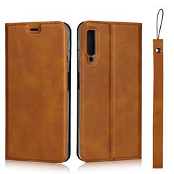 Calf Pattern Magnetic Automatic Suction Leather Wallet Case for Samsung Galaxy A7 (2018) A750 - Brown