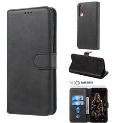 Retro Calf Matte Leather Wallet Phone Case for Samsung Galaxy A7 (2018) A750 - Black