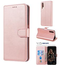 Retro Calf Matte Leather Wallet Phone Case for Samsung Galaxy A7 (2018) A750 - Pink