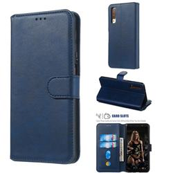 Retro Calf Matte Leather Wallet Phone Case for Samsung Galaxy A7 (2018) A750 - Blue