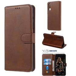 Retro Calf Matte Leather Wallet Phone Case for Samsung Galaxy A7 (2018) A750 - Brown