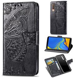 Embossing Mandala Flower Butterfly Leather Wallet Case for Samsung Galaxy A7 (2018) A750 - Black