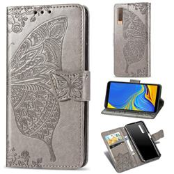 Embossing Mandala Flower Butterfly Leather Wallet Case for Samsung Galaxy A7 (2018) A750 - Gray