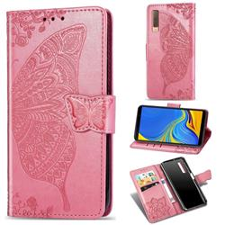 Embossing Mandala Flower Butterfly Leather Wallet Case for Samsung Galaxy A7 (2018) A750 - Pink