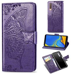 Embossing Mandala Flower Butterfly Leather Wallet Case for Samsung Galaxy A7 (2018) A750 - Dark Purple