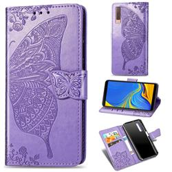 Embossing Mandala Flower Butterfly Leather Wallet Case for Samsung Galaxy A7 (2018) A750 - Light Purple