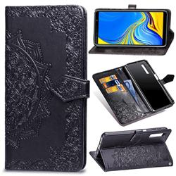 Embossing Imprint Mandala Flower Leather Wallet Case for Samsung Galaxy A7 (2018) A750 - Black