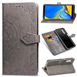 Embossing Imprint Mandala Flower Leather Wallet Case for Samsung Galaxy A7 (2018) A750 - Gray