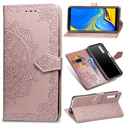 Embossing Imprint Mandala Flower Leather Wallet Case for Samsung Galaxy A7 (2018) A750 - Rose Gold
