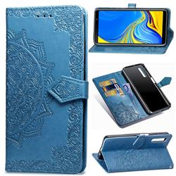 Embossing Imprint Mandala Flower Leather Wallet Case for Samsung Galaxy A7 (2018) A750 - Blue