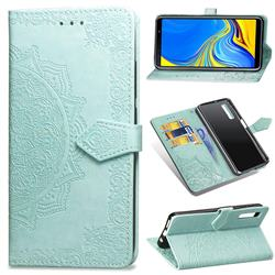 Embossing Imprint Mandala Flower Leather Wallet Case for Samsung Galaxy A7 (2018) A750 - Green