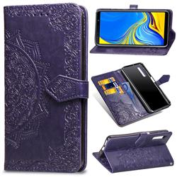 Embossing Imprint Mandala Flower Leather Wallet Case for Samsung Galaxy A7 (2018) A750 - Purple