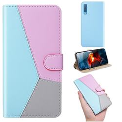 Tricolour Stitching Wallet Flip Cover for Samsung Galaxy A7 (2018) A750 - Blue