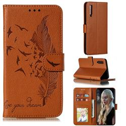 Intricate Embossing Lychee Feather Bird Leather Wallet Case for Samsung Galaxy A7 (2018) A750 - Brown