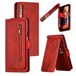 Multifunction 9 Cards Leather Zipper Wallet Phone Case for Samsung Galaxy A7 (2018) A750 - Red