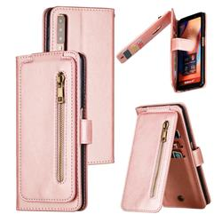 Multifunction 9 Cards Leather Zipper Wallet Phone Case for Samsung Galaxy A7 (2018) A750 - Rose Gold