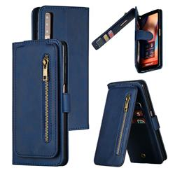 Multifunction 9 Cards Leather Zipper Wallet Phone Case for Samsung Galaxy A7 (2018) A750 - Blue