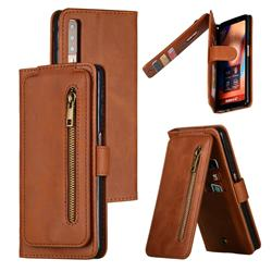 Multifunction 9 Cards Leather Zipper Wallet Phone Case for Samsung Galaxy A7 (2018) A750 - Brown