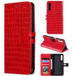 Luxury Crocodile Magnetic Leather Wallet Phone Case for Samsung Galaxy A7 (2018) A750 - Red