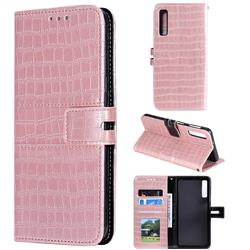 Luxury Crocodile Magnetic Leather Wallet Phone Case for Samsung Galaxy A7 (2018) A750 - Rose Gold