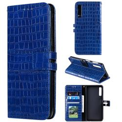 Luxury Crocodile Magnetic Leather Wallet Phone Case for Samsung Galaxy A7 (2018) A750 - Blue