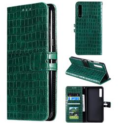 Luxury Crocodile Magnetic Leather Wallet Phone Case for Samsung Galaxy A7 (2018) A750 - Green