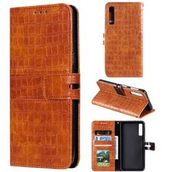 Luxury Crocodile Magnetic Leather Wallet Phone Case for Samsung Galaxy A7 (2018) A750 - Brown