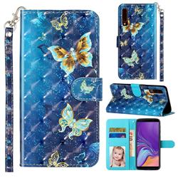 Rankine Butterfly 3D Leather Phone Holster Wallet Case for Samsung Galaxy A7 (2018) A750