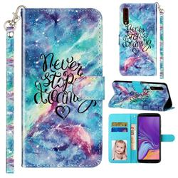Blue Starry Sky 3D Leather Phone Holster Wallet Case for Samsung Galaxy A7 (2018) A750
