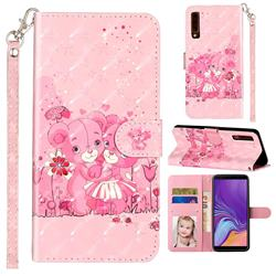 Pink Bear 3D Leather Phone Holster Wallet Case for Samsung Galaxy A7 (2018) A750