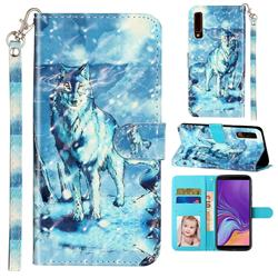 Snow Wolf 3D Leather Phone Holster Wallet Case for Samsung Galaxy A7 (2018) A750